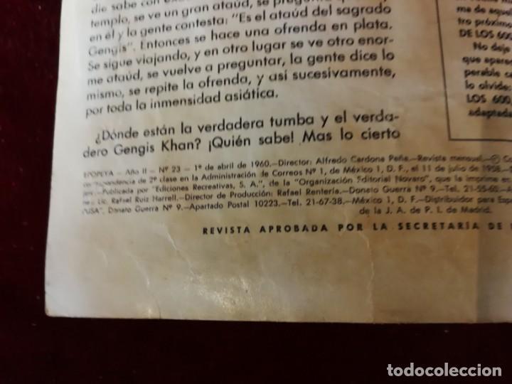 Tebeos: Novaro Ediciones Recreativas Epopeya nº 23 Gengis khan señor de Asia - Foto 2 - 156828366
