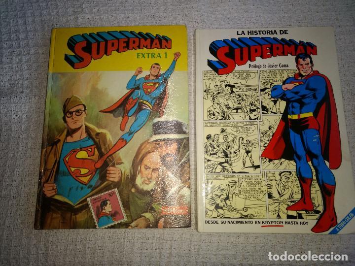 LOTE 2 TOMOS SUPERMAN EXTRA Nº1 Y LA HISTORIA DE SUPERMAN EDICIONES AÑOS 70 (Tebeos y Comics - Novaro - Superman)