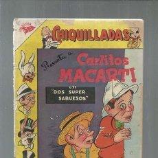 Tebeos: CHIQUILLADAS 33: CARLITOS MACARTI, 1955, NOVARO, USADO. COLECCIÓN A.T.. Lote 161937030