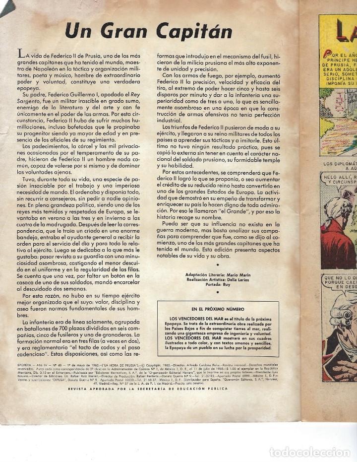 Tebeos: EPOPEYA - AÑO IV - Nº 48, 1º DE MAYO DE 1962 *NOVARO MÉXICO - EDICIONES RECREATIVAS* - Foto 5 - 162906230