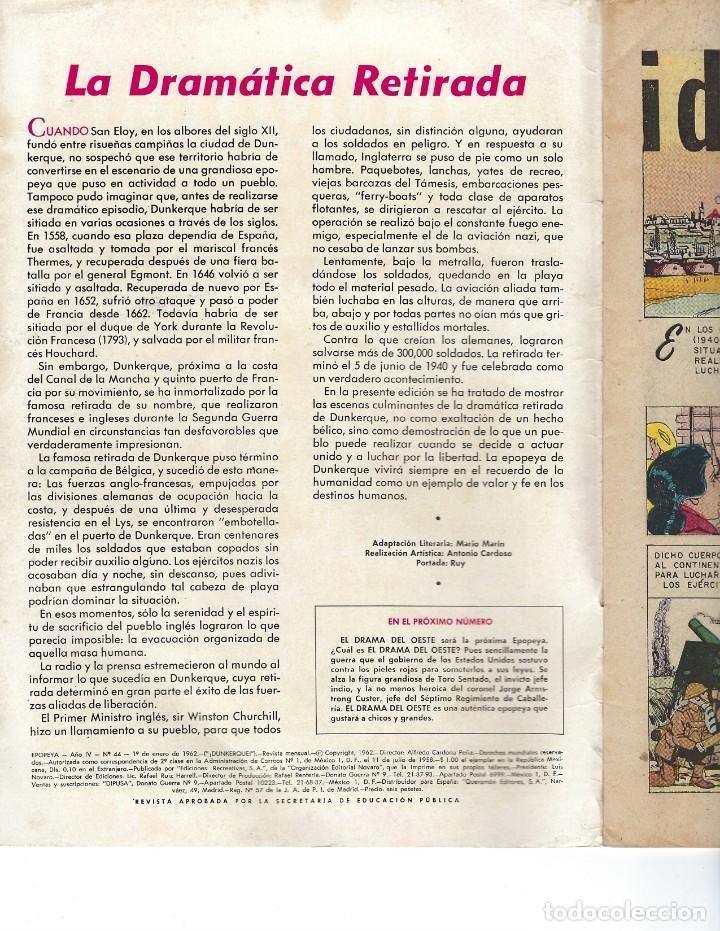 Tebeos: EPOPEYA - AÑO IV - Nº 44, 1º DE ENERO DE 1962 *NOVARO MÉXICO - EDICIONES RECREATIVAS* - Foto 5 - 162906434