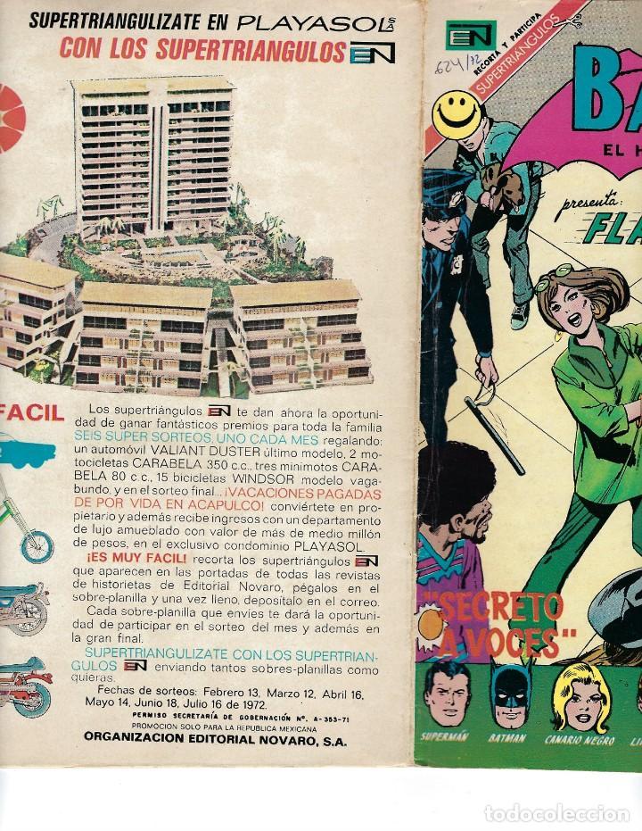 Tebeos: BATMAN - EL HOMBRE MURCIÉLAGO, AÑO XX, Nº 624, 6 DE ABRIL DE 1972 ***EDITORIAL NOVARO*** - Foto 3 - 169297196