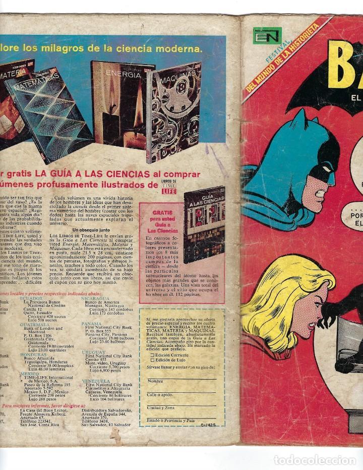 Tebeos: BATMAN - EL HOMBRE MURCIÉLAGO, AÑO XVI, Nº 466, 13 DE FEBRERO DE 1969 ***EDITORIAL NOVARO*** - Foto 3 - 170057036