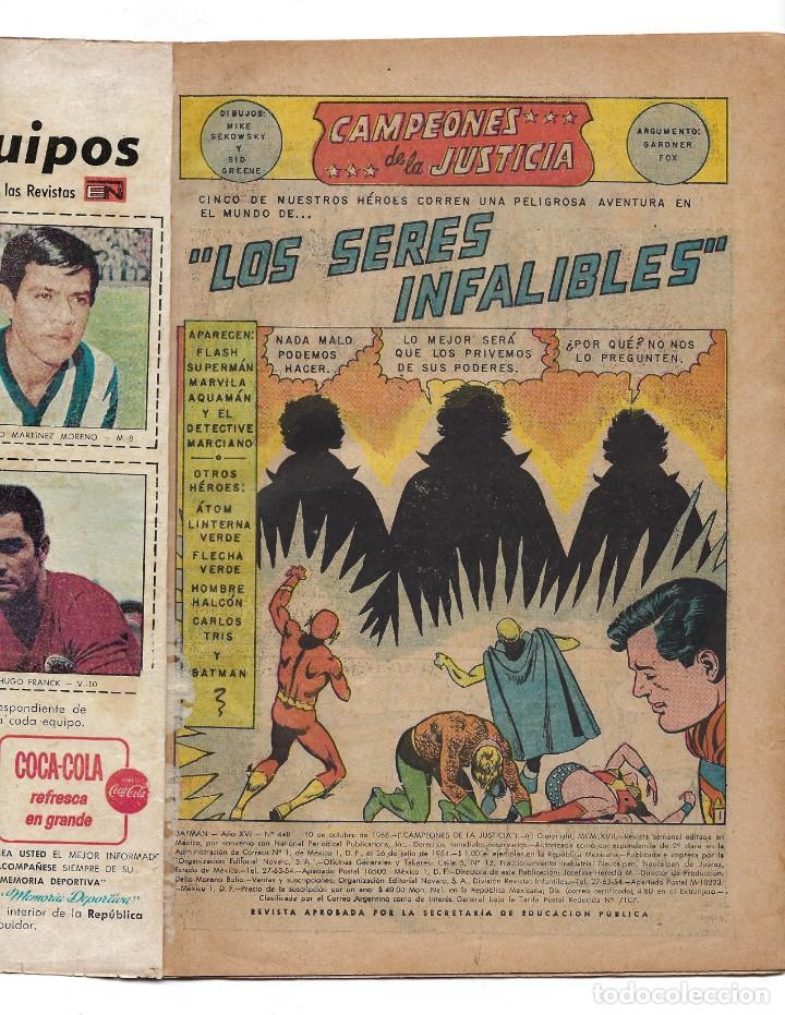 Tebeos: BATMAN - EL HOMBRE MURCIÉLAGO, AÑO XVI, Nº 448, 10 DE OCTUBRE DE 1968 ***EDITORIAL NOVARO*** - Foto 6 - 170057616