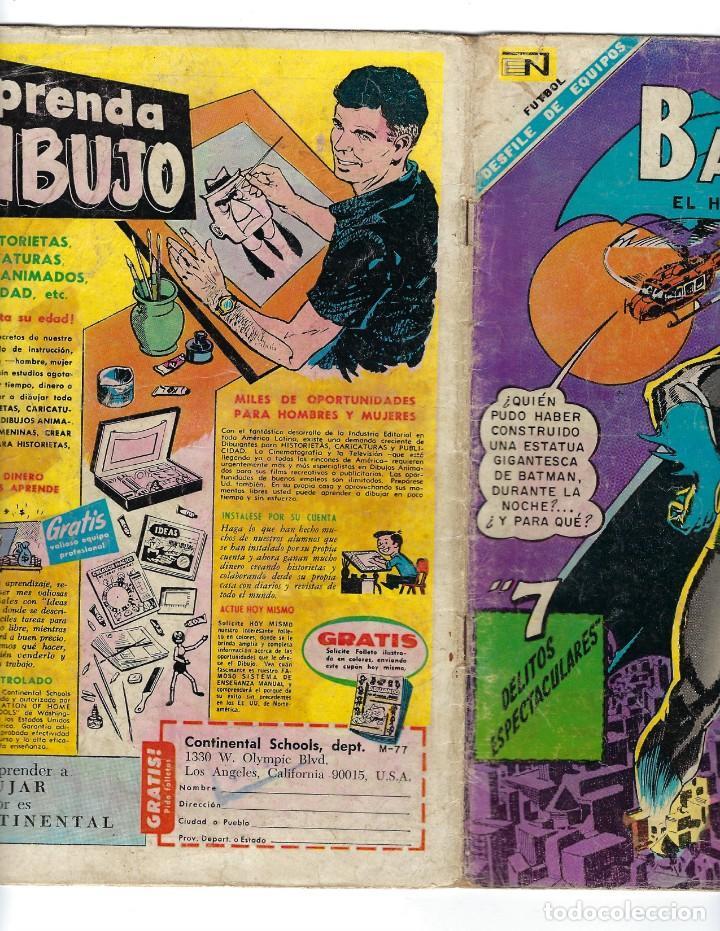 Tebeos: BATMAN - EL HOMBRE MURCIÉLAGO, AÑO XVI, Nº 434, 4 DE JULIO DE 1968 ***EDITORIAL NOVARO*** - Foto 3 - 170058040