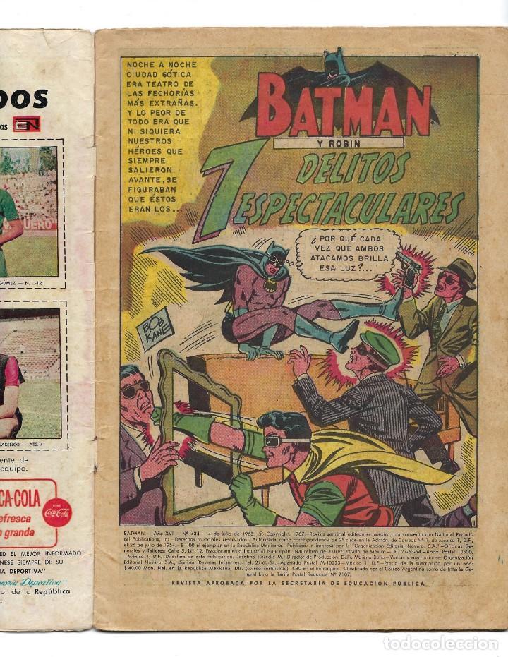 Tebeos: BATMAN - EL HOMBRE MURCIÉLAGO, AÑO XVI, Nº 434, 4 DE JULIO DE 1968 ***EDITORIAL NOVARO*** - Foto 5 - 170058040