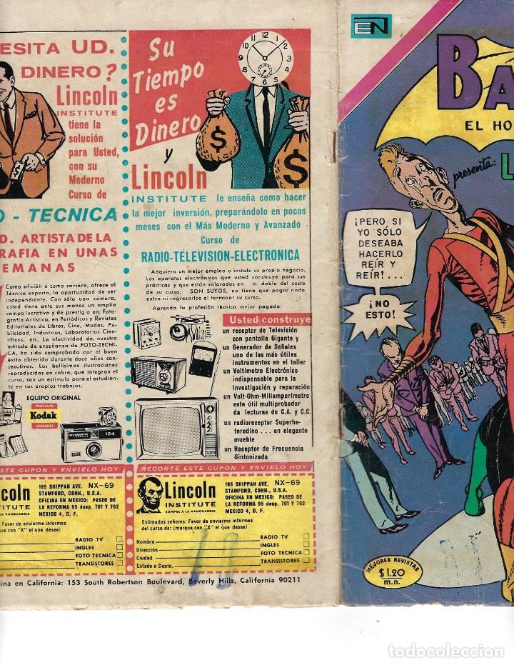 Tebeos: BATMAN - EL HOMBRE MURCIÉLAGO, AÑO XVIII, Nº 565, 7 DE ENERO DE 1971 ***EDITORIAL NOVARO*** - Foto 3 - 173810887