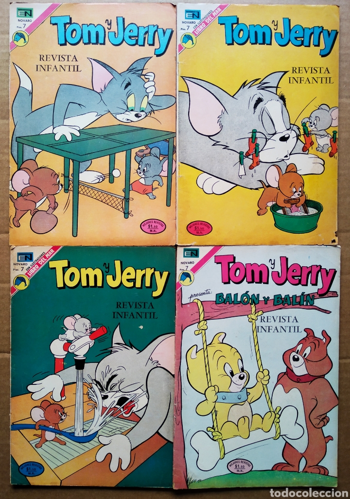 LOTE TOM Y JERRY (NOVARO, 1972-1973). NÚMEROS 357-362-368-369. (Tebeos y Comics - Novaro - Tom y Jerry)
