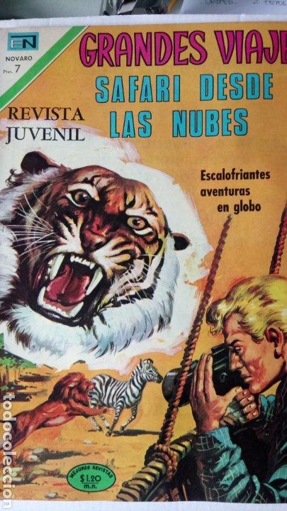 GRANDES VIAJES. SAFARI DESDE LAS NUBES. EDITORIAL NOVARO. PVP 7 PESETAS. AÑO 1971. (Tebeos y Comics - Novaro - Grandes Viajes)