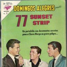 Tebeos: DOMINGOS ALEGRES PRESENTA 77 SUNSET STRIP - Nº 490 - AGOSTO 1963 - NOVARO SEA - CORRECTO. Lote 197166382