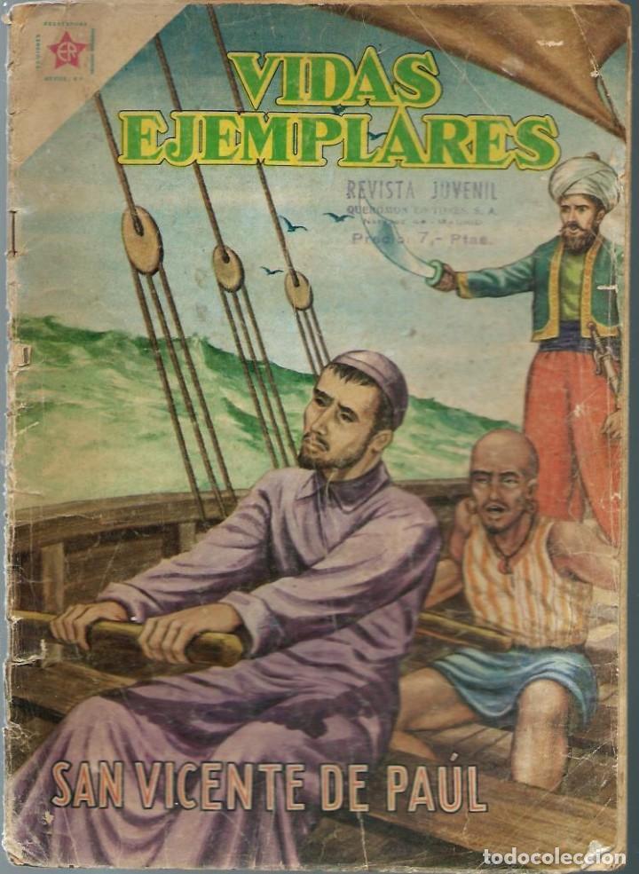 VIDAS EJEMPLARES Nº 63 - SAN VICENTE DE PAUL - JULIO 1959 - NOVARO SEA - DIFICIL - A BUEN PRECIO (Tebeos y Comics - Novaro - Vidas ejemplares)