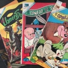 Tebeos: LOTE 4 COMIC ORIGINAL NOVARO, EL CONEJO DE LA SUERTE Y EL LLANERO SOLITARIO. Lote 198214738