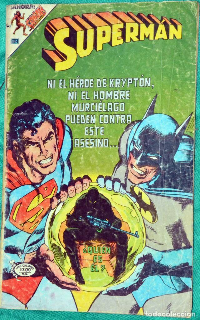 SUPERMAN 3-62 SUPERMAN Y BATMAN TORNADO ROJO AVESTRUZ NOVARO 1980 CON DETALLES (Tebeos y Comics - Novaro - Superman)
