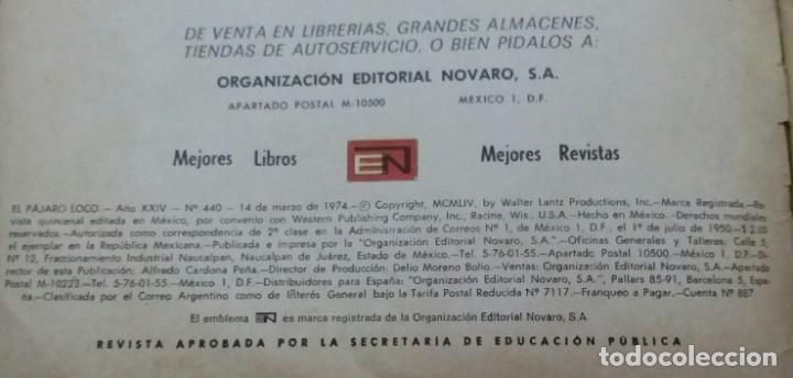 Tebeos: CÓMIC 1974 EL PÁJARO LOCO. JUGO DE MANZANA. TEBEO NO. 440. EDITORIAL NOVARO - Foto 4 - 199730683