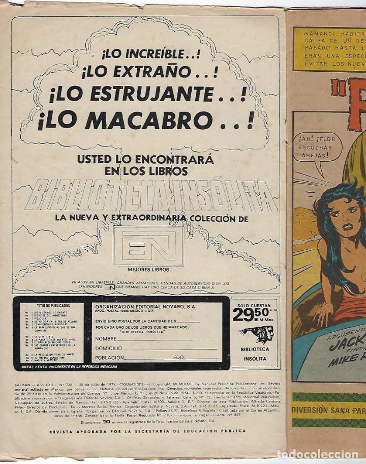 Tebeos: BATMAN - EL HOMBRE MURCIÉLAGO, AÑO XXII, Nº 736, JULIO 26 DE 1974 ***EDITORIAL NOVARO*** - Foto 4 - 202983610