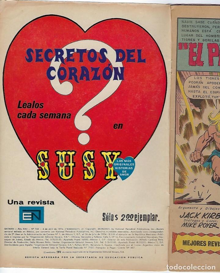 Tebeos: BATMAN - EL HOMBRE MURCIÉLAGO, AÑO XXII, Nº 728, ABRIL 4 DE 1974 ***EDITORIAL NOVARO*** - Foto 4 - 202983880