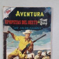 Tebeos: AVENTURA N° 35 - EPOPEYAS DEL OESTE DE ZANE GREY - LOS COLONIZADORES - ORIGINAL EDITORIAL NOVARO. Lote 205328256