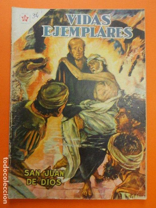 VIDAS EJEMPLARES Nº 34 - SAN JUAN DE DIOS - AÑO 1957 - ED. NOVARO... L1248 (Tebeos y Comics - Novaro - Vidas ejemplares)