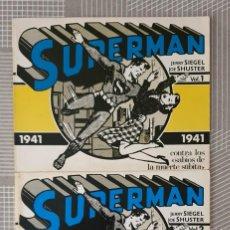 Livros de Banda Desenhada: SUPERMAN. TIRAS DE PRENSA 1941. COLECCIÓN COMPLETA DE 2 TOMOS. DISTRICOMIC 1983. Lote 286455973