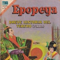 Tebeos: EPOPEYA : NUMERO 111 BREVE HISTORIA DEL TEATRO (FINAL), EDITORIAL NOVARO. Lote 211780162