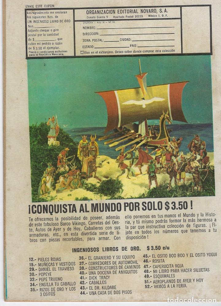 Tebeos: EPOPEYA: EL PARTENON - AÑO IX - Nº 98 - JULIO 1º DE 1966 ** NOVARO ** - Foto 2 - 240617705