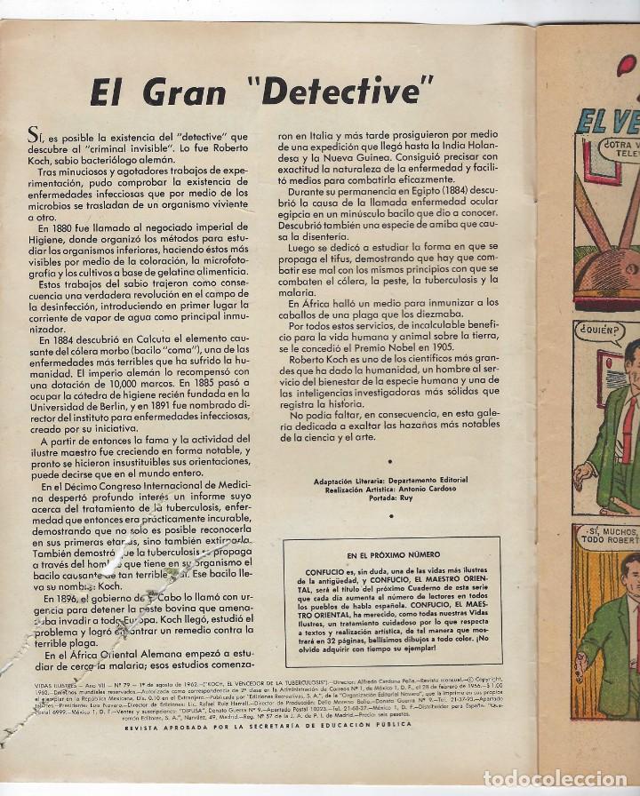 Tebeos: VIDAS ILUSTRES: KOCH EL VENCEDEDOR DE LA... AÑO VII - Nº 79 - AGO. 1º DE 1962 ** EDITORIAL NOVARO ** - Foto 4 - 245561050