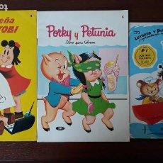 Tebeos: LOTE 3 LIBROS PARA COLOREAR NOVARO LA PEQUEÑA LULÚ Y TOBI, PORKY Y PETUNIA LEYENDO Y PINTANDO. Lote 247527330