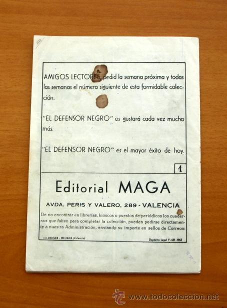 Tebeos: El defensor negro - Nº 1 Ringo Rowant - Editorial Maga 1963 - Foto 5 - 50337708