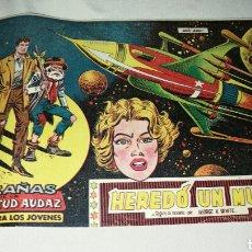 Tebeos: HAZAÑAS DE LA JUVENTUD AUDAZ . HEREDÓ UN MUNDO N° 1 . ED. VALENCIANA . ORIGINAL 1959. Lote 74995666