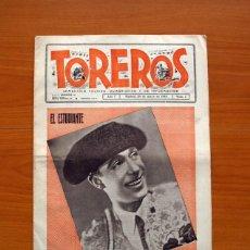 Tebeos: TOREROS, Nº 1 EL ESTUDIANTE- SEMANARIO TAURINO HUMORÍSTICO Y DE INFORMACIÓN, AÑO 1944 - TAMAÑO 40X28. Lote 98846463