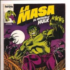 Tebeos: LA MASA - EL INCREIBLE HULK - COMICS FORUM - Nº 1 1983 + FUNDA PROTECCION. Lote 143069381