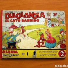 Tebeos: ÁLBUM WALT DISNEY Nº 1, MICKEY PRESENTA DULCILANDIA Y EL GATO BANDIDO -EDITORIAL MOLINO-TAMAÑO 22X30. Lote 132095346