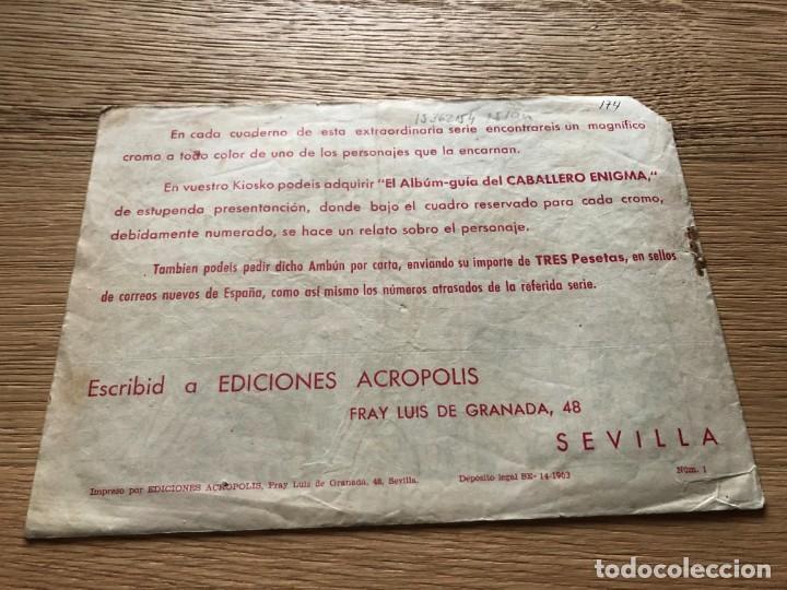 Tebeos: Nº 1, EL CABALLERO ENIGMA, UN CABALLERO SIN HONOR, ED ACRÓPOLIS 1963 - Foto 2 - 141326126