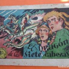 Tebeos: COLECCION MARAVILLAS , NUMERO 1 , EL DRAGON DE LAS SIETE CABEZAS , BERGIS 1946 , DETRAS RECORTABLE. Lote 178284536