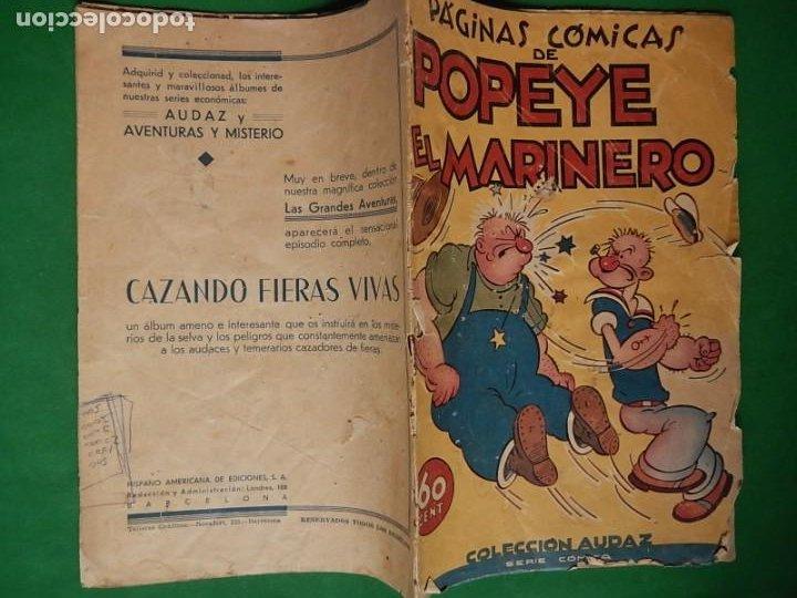 Tebeos: Páginas Cómicas Popeye el Marinero. Colección Audaz. Hispano Americana Ediciones S.A. Barcelona. - Foto 5 - 218414841