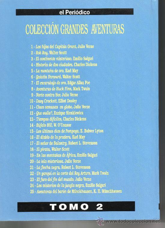 Tebeos: GRANDES AVENTURAS. TOMO 2. JULIO VERNE. EMILIO SALGARI. WALTER SCOTT. EL PERIÓDICO. COMIC. COMICS. - Foto 2 - 27064173