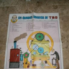 Tebeos: POSTER LOS GRANDES INVENTOS DE TBO - FRANZ DE COPENHAGUE - EDICIONES B 1990. Lote 209736001