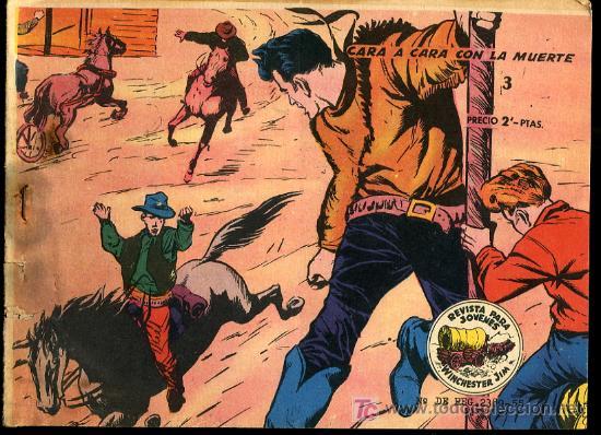 WINCHESTER JIM Nº3- CARA CARA CON LA MUERTE 1955,EXCLUSIVAS GRAFICAS RICART,BARCELONA (Tebeos y Comics - Ricart - Otros)