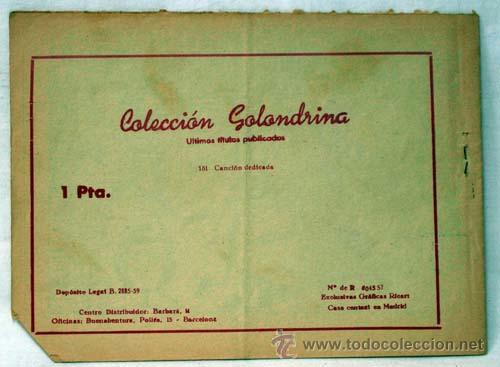 Tebeos: Golondrina nº 181 Canción dedicada Ed Gráficas Ricart años 50 - Foto 3 - 10482788