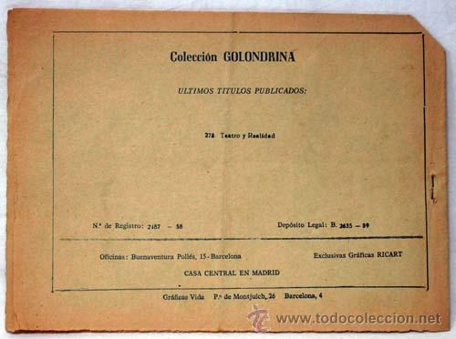 Tebeos: Golondrina nº 278 Teatro y realidad Ed Gráficas Ricart años 50 - Foto 3 - 10483039