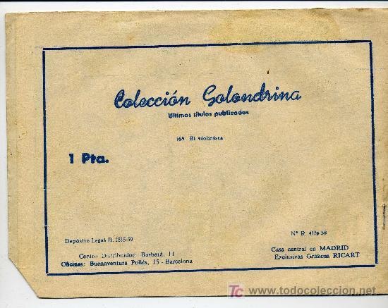 Tebeos: COLECCION GOLONDRINA Nº 168 EL VIOLINISTA - GRAFICAS RICART - Foto 2 - 26283249