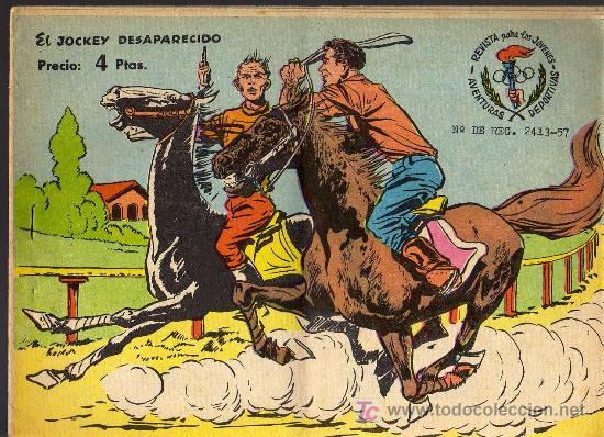 AVENTURAS DEPORTIVAS - EL JOCKEY DESAPARECIDO - GRAFICAS RICART 1963 - ORIGINAL, NO FACSIMIL (Tebeos y Comics - Ricart - Aventuras Deportivas)