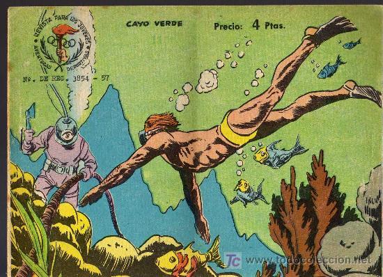 AVENTURAS DEPORTIVAS - CAYO VERDE - GRAFICAS RICART 1963 - ORIGINAL, NO FACSIMIL (Tebeos y Comics - Ricart - Aventuras Deportivas)