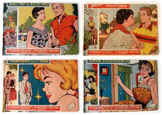 LOTE DE 4 COMICS AMOR INEVITABLE * AVENTURA EN EL TREN * AMISTAD DE VACACIONES * AMOR ESTUDIANTIL (Tebeos y Comics - Ricart - Sentimental)