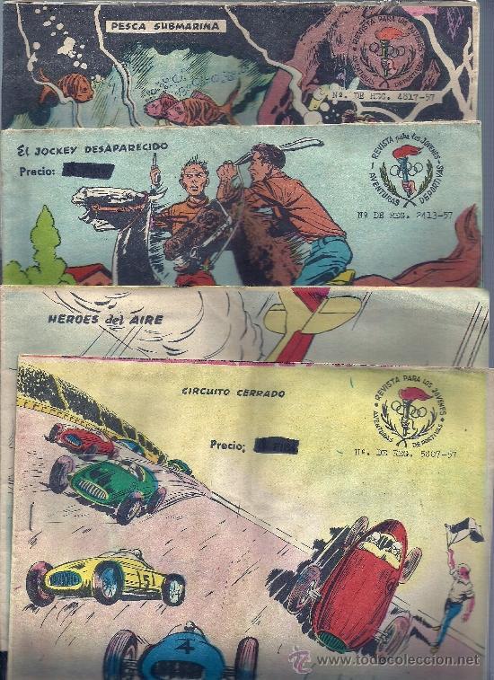 LOTE DE 4 EJEMPLARES : CIRCUITO CERRADO,HEROES AIRE,JOCKEY DESAPAR,PESCA SUBMARINA (Tebeos y Comics - Ricart - Aventuras Deportivas)