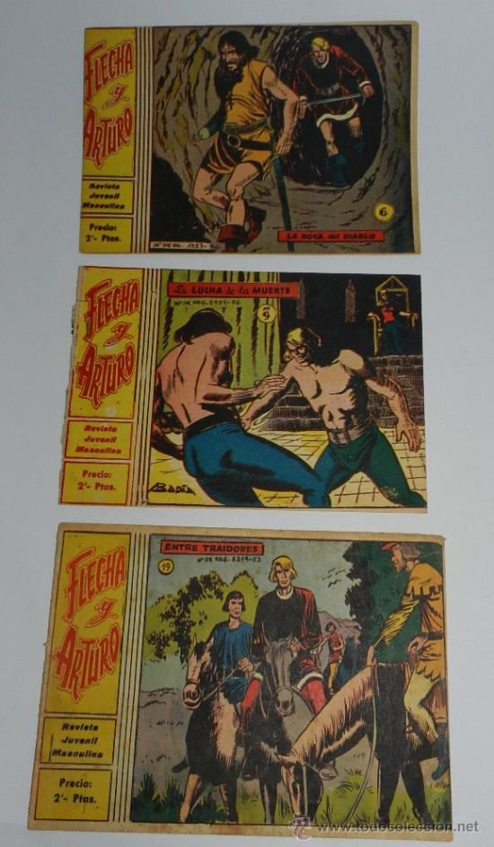 FLECHA Y ARTURO, ED. RICART, LOTE DE 3 NUMEROS, NUM. 6, 9 ,19, ORIGINALES. (Tebeos y Comics - Ricart - Flecha y Arturo)