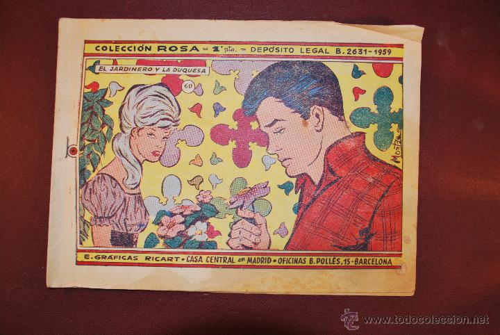 COL. ROSA Nº 060 - EL JARDINERO Y LA DUQUESA - GRAFICAS RICART (Tebeos y Comics - Ricart - Otros)