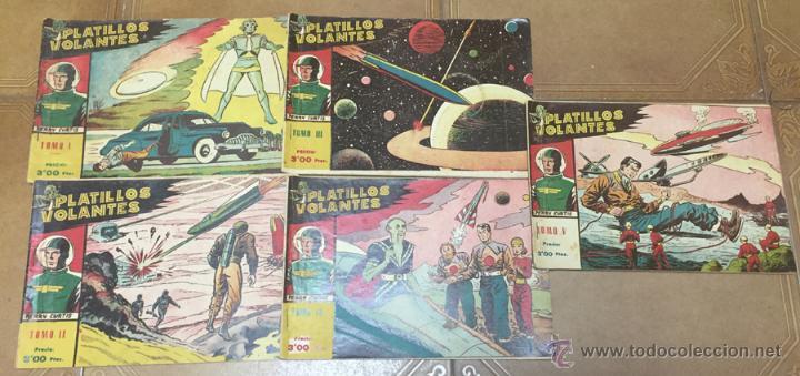 PLATILLOS VOLANTES ORIGINAL EDITORIAL RICART 1955-56, COMPLETA 5 TOMOS CON LOS 15 TEBEOS, EN CADA TO (Tebeos y Comics - Ricart - Otros)