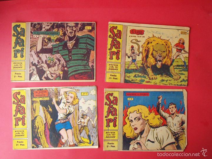 4 TEBEOS COLECCIÓN SAFARI, EXCLUSIVAS GRÁFICAS RICART, BARCELONA 1965 - Nº 5, 6, 7 Y 8 (Tebeos y Comics - Ricart - Modelo)
