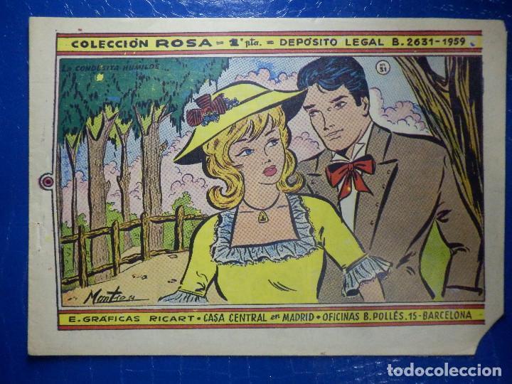 TEBEO - COMIC - COLECCIÓN ROSA - LA CONDESITA HUMILDE - Nº 31 - AÑO 1959 (Tebeos y Comics - Ricart - Otros)